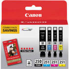 Genuine Canon 6497B004 Black & Color Ink Cartridge (PGI-250 PGBK/CLI-251 C/M/Y)
