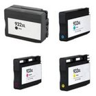 HP 932/933XL 4 Color Ink Set,Remanufactured BCMY Combo (#932/933XL)