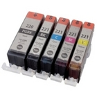 Canon 5 Color Ink Set, Remanufactured BCMY Combo (CLI221,PGI220)