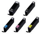 Canon PGI250XL, CLI251XL - Remanufactured 5 Color Ink Catridge Set (PGI250XL Black CLI251XL Black Cyan Magenta Yellow)