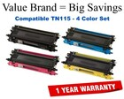 Brother TN115 Remanufactured Toner Set (Black, Cyan, Magenta, Yellow)