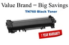 Remanufactured Brother TN760 Toner for use in  DCPL2550DW HLL2350DW